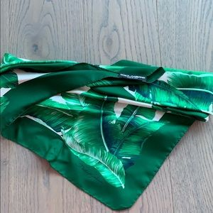 Dolce and Gabbana Banana leaf Silk scarf